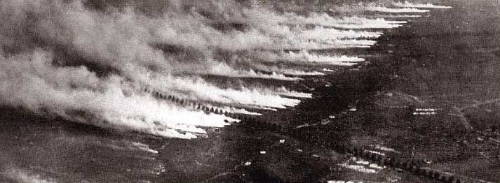 5 pm. 22 Apr. 1915, Gravenstafel. Germans released 168 tons of chlorine gas over the line held by French Territorial and colonial Moroccan & Algerian troops of the French 45th and 78th div's. German troops hauled 5,730 cylinders of chlorine gas, weighing 90 lbs each, to the front by hand. The soldiers opened the cylinders by hand, relying on winds to carry the gas towards enemy lines. Because of this, a number of German soldiers were injured or killed in the process of carrying out the…