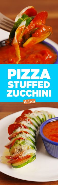 This low-carb Pizza Stuffed Zucchini works that hasselback cut. Get the recipe from Delish.com.