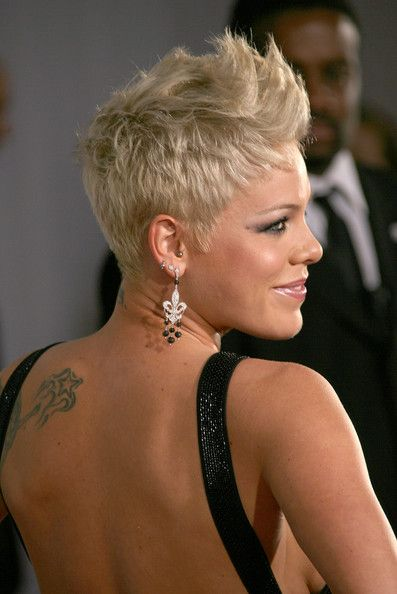 Pink kills it with her short spiky style... achieve the same height and separation with Style Sexy Hair Hard Up gel