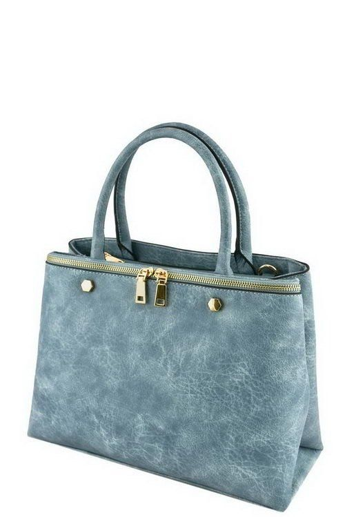 Blue Designer Zipper Accent Tote Bag