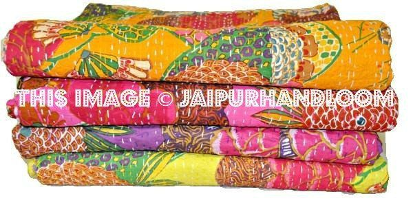 Wholesale SET OF 3 Popular Kantha Quilt, Indian Sari Quilt, Quilted Bedspreads, Throws, Blanket, Gudari handmade tapestry Reversible Bedding
