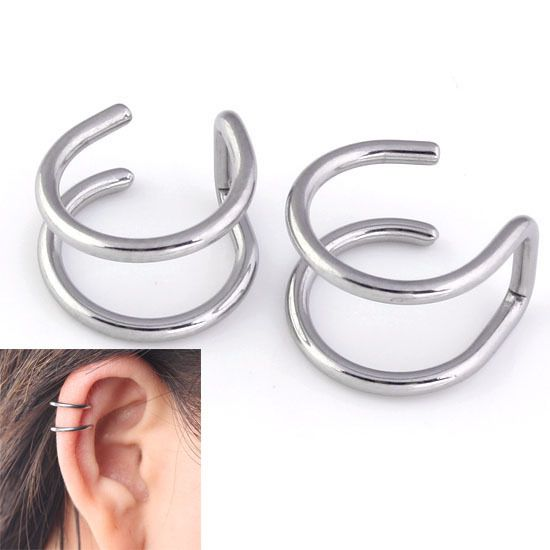 New 1 Pair 16G Stainless Steel 2 Rings Ear Cuff Clip Women Men Fake Piercing Finti Black Rainble Silvery Dilataciones Falsas