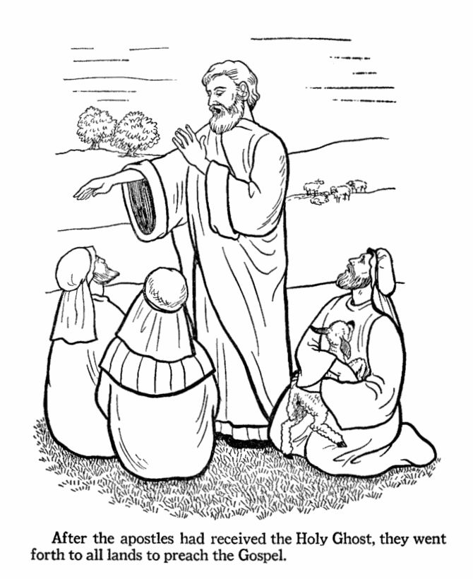 Easter Bible Coloring Pages - Apostles preach the Gospel ...
