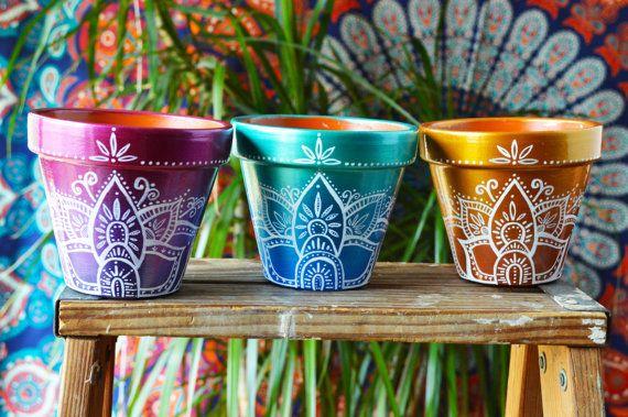 Handbeschilderd Ombre Boheemse potten Boho door MysticCompanyDecor