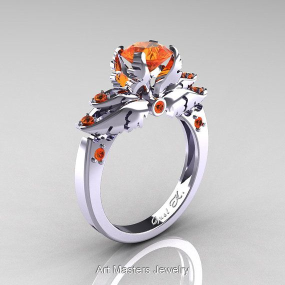 Classic Angel 14K White Gold 1.0 Ct Orange Sapphire Solitaire Engagement Ring R482-14KWGOS