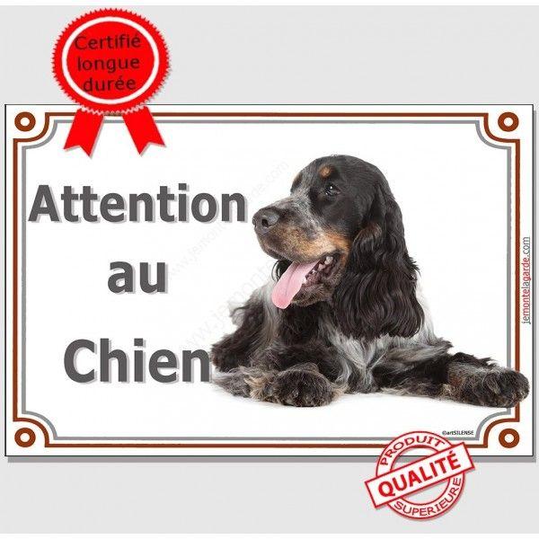 Cocker Anglais Tricolore Plaque Portail Attention Au Chien Panneau Pancarte En 2020 Cocker Attention Au Chien Chien