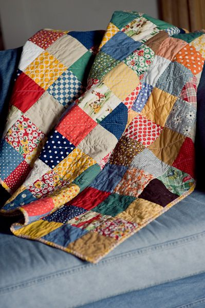 "scrappy quilt ... this makes me think of our beloved ""comfy quilt"""