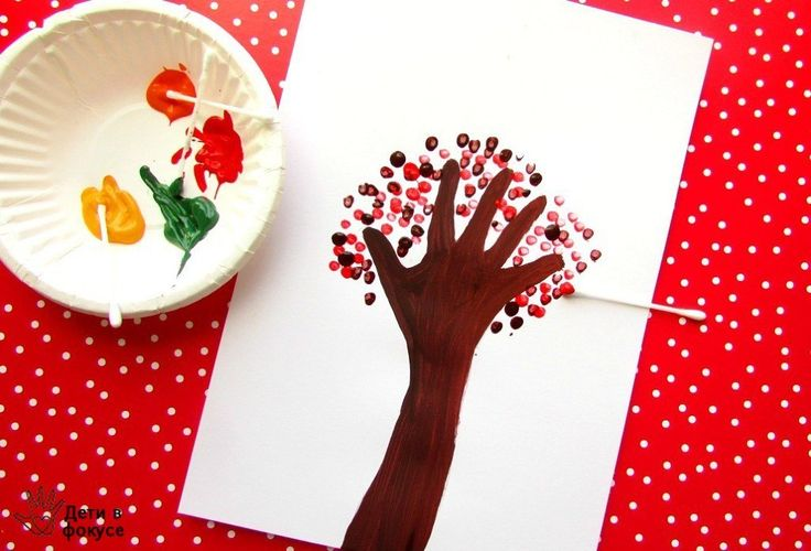 Handprint Fall Tree Craft  One of the most hand-drawn objects in the world, trees is best to begin with; for the sense of Nature's importance and beauty that it instills. Now time to ace-up the tree game and take it a notch higher, by using cotton swabs and paint.