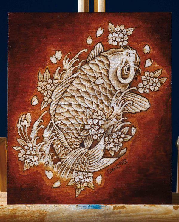 Koi fish pyrography wood burn art illustration by Daniel Hernández