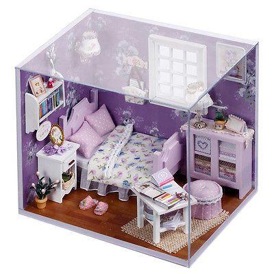 Nueva Casa de muñecas en miniatura hágalo usted mismo Kit Con Cubierta De Madera Juguete Casa De Muñecas Regalo Dulce Sol