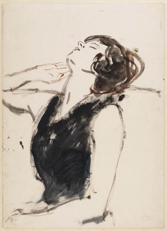 tekening, Slapend meisje na (1874 - 1934) Isaac Israels