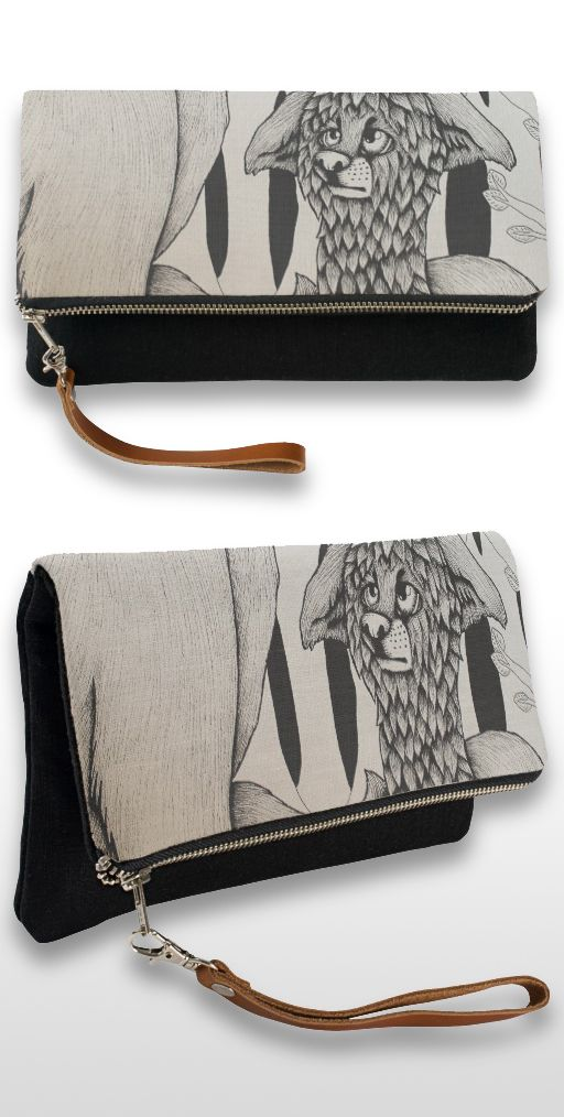"""""""Wet Dog"""" Black and white cute puppy illustration Clutch bag"""