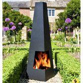 Matte Black Corner Fireplace Fire Pit Cuba Chimenea @ Wayfair $175
