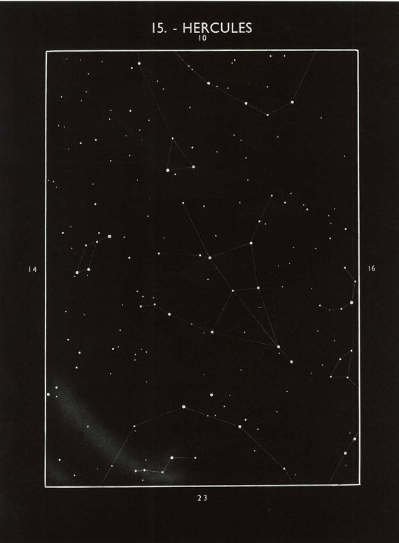 Hercules Constellation Vintage Celestial Print by CarambasVintage, $16.00