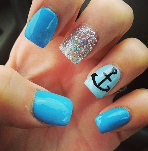 The 25 best nails with anchor design ideas on pinterest blue and silver glitter with black anchor prinsesfo Gallery
