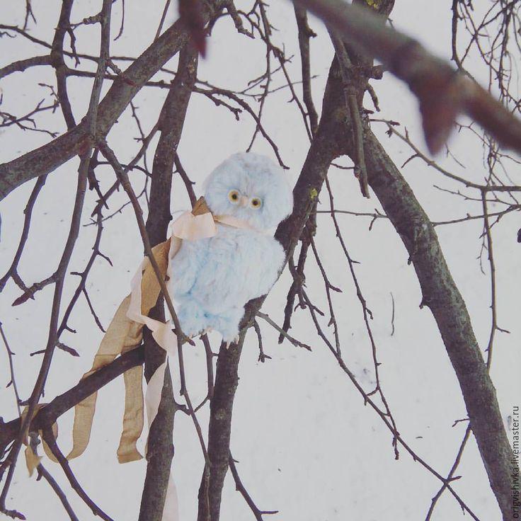 Купить Совёнок Арчи птица - голубой, совенок, сова игрушка, сова игрушка купить