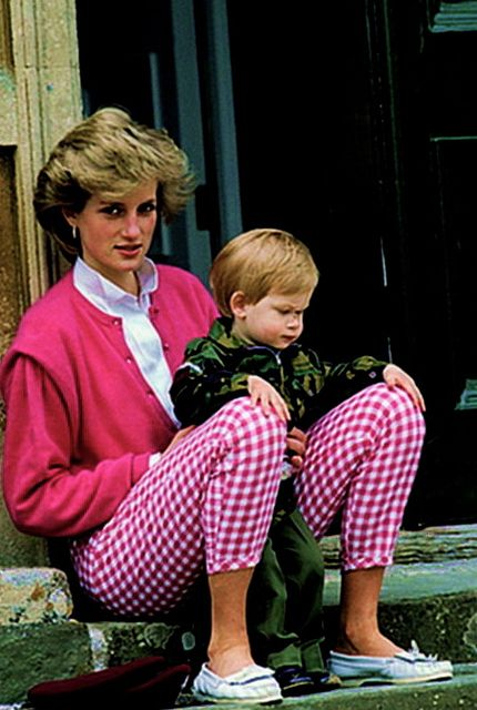 Princess Diana with a very young Prince Harry