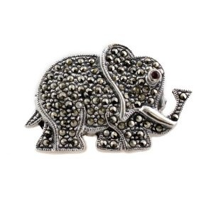 India Jewellery Brooches Sterling Silver Elephant Marcasite Length 3.17 cm: ShalinCraft: Amazon.co.uk: Jewellery