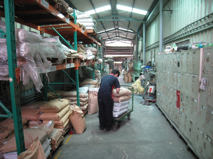 Plastic pellet storage in the factory.