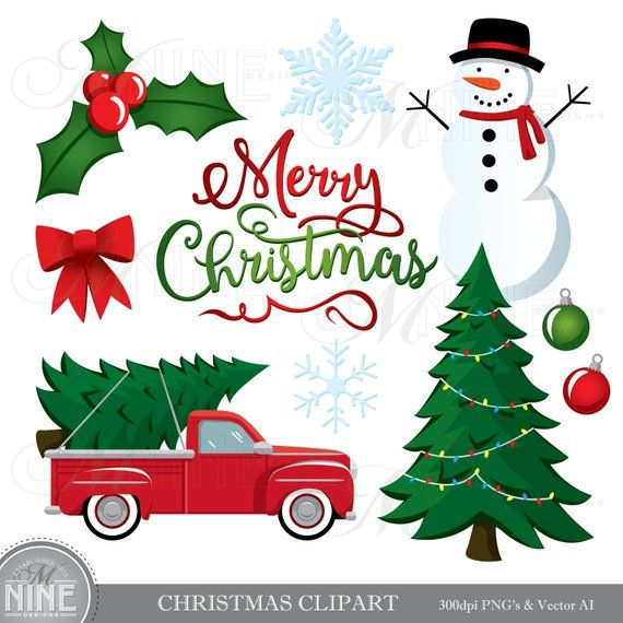 Christmas Clip Art Vector Christmas Clipart Downloads Etsy In 2020 Christmas Tree Clipart Christmas Tree Truck Christmas Clipart