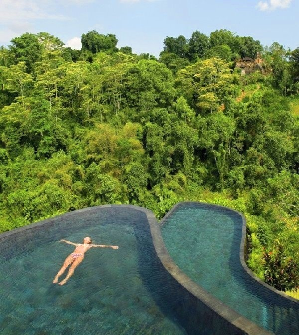 Hanging Gardens Resort, Ubud (Bali). That is breathtaking!! I love infinity pools.
