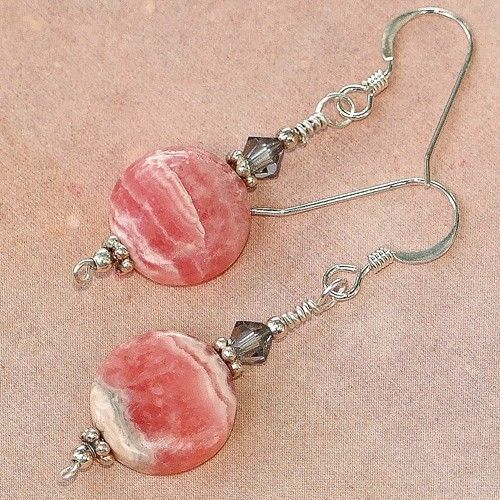 Pink Rhodochrosite Swarovski Earrings Handmade Summer OOAK Gemstone | ShadowDogD…