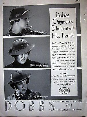 1936 Dobbs Hat Trends Assurance Of Distinction For Women Ad | eBay