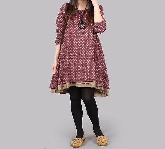 Cotton Long sleeve dress large size dress cotton plus size dress Spring dress