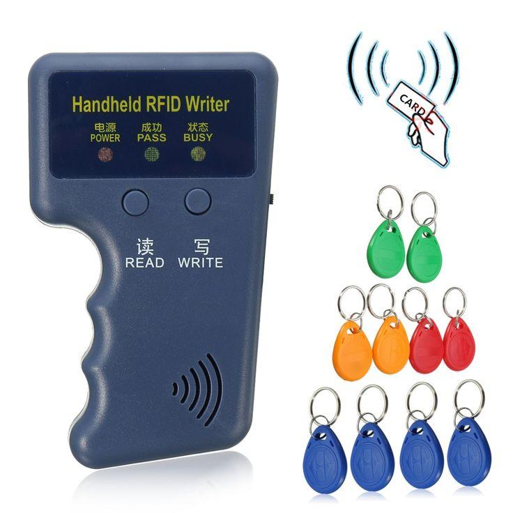 Computadora de mano 125 KHz EM4100 RFID Copiadora Escritor Duplicadora Programador Lector + 10 Unids Regrabable EM4305 T5577 Keyfobs IDENTIFICACIÓN Etiquetas Card