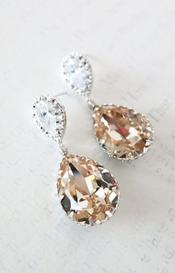 Cubic Zirconia Teardrop Swarovski Light Silk Crystal Teardrop Earrings, Bridesmaid Earrings, Bridal Jewelry, Wedding Jewelry