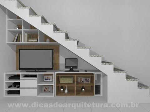 Móvel para TV embaixo da escada. http://dicasdearquitetura.com.br/movel-para-tv-embaixo-da-escada/