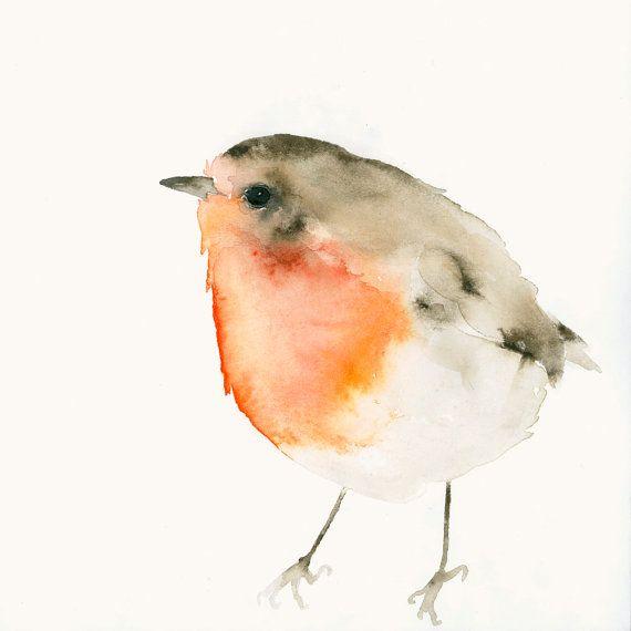 Stampa artistica uccello da acquerello originale Little Red