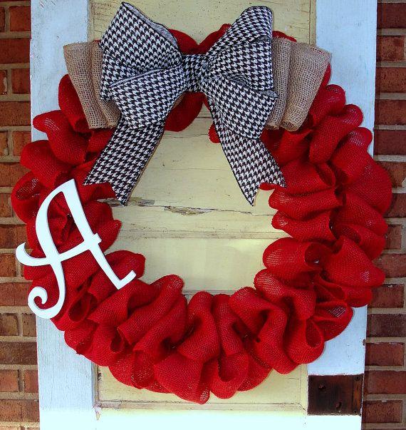 Alabama Crimson & Houndstooth Burlap Wreath by East2Nest on Etsy, $50.00