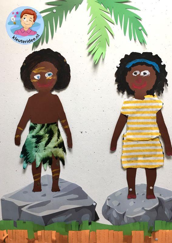 Afrikaanse kinderen knutselen,kleuteridee , thema Afrika.