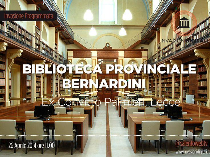#InvasioniDigitali: Sabato 26 Aprile ore 11.00 presso la Biblioteca provinciale Bernardini ( ex-Convitto Palmieri) arrivano le #invasioniDigitali. Maggiori info: http://www.invasionidigitali.it/it/invasionedigitale/biblioteca-provinciale-bernardini-lecce#.U1GYyuZ_sQ4 #Lecce2019 #Salentowebtv #liberaCultura