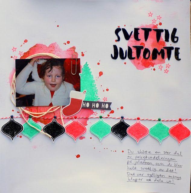Sara Kronqvist - Saras pysselblogg: Svettig jultomte   Simple Christmas scrapbook layout