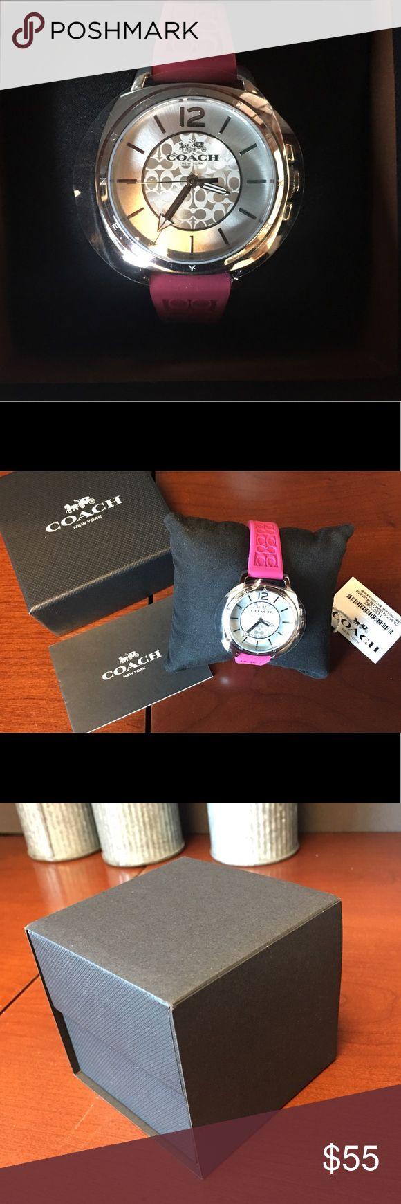 Coach Boyfriend Watch – BRAND NEW! Pink Silicone Brand new with box, price tag, cushion, plastic seals Coach boyfriend watch with pink silicone band. …