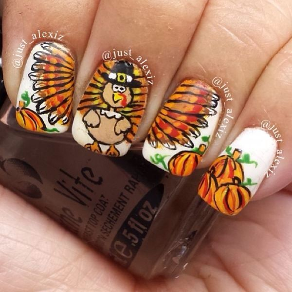42 best turkey nail art images on pinterest autumn nails holiday diy pained turkey feather and pumpkin nails for 2014 thanksgiving party white and orange polish solutioingenieria Images