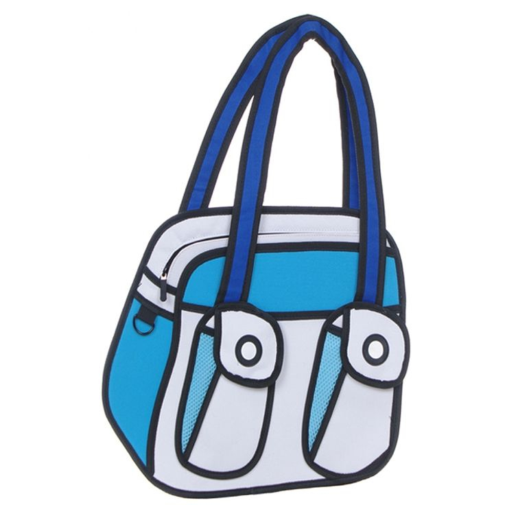 3D Jump Style Comic Cartoon Vivid Handbag - 2D Drawing Cartoon Messenger Bag (Blue)