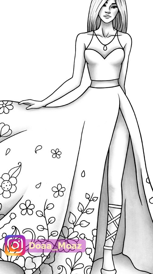 Fashion coloring page ♥ in 2020 | Fashion illustration ...