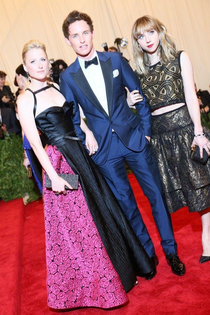 Mamie Gummer with Eddie Redmayne in Burberry and Zoe Kazan at the Met Gala [Photo by Evan Falk]