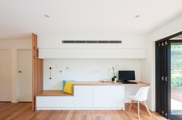 Built-in seating and study nook at Escu House Sydney — Bijl Architecture