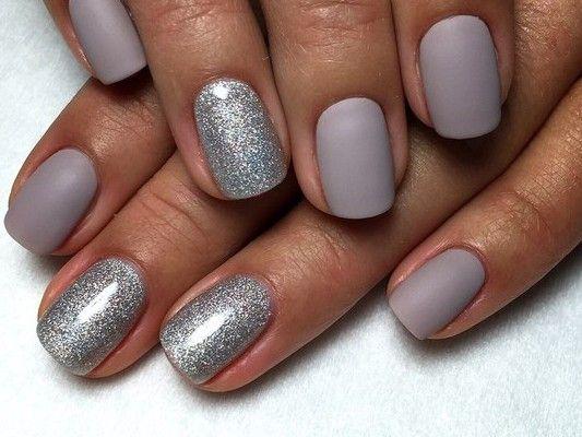 серебристо-серый матовый дизайн ногтей