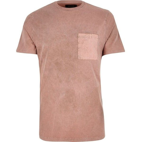 River Island Pink washed pocket slim fit T-shirt (£8) ❤ liked on Polyvore featuring men's fashion, men's clothing, men's shirts, men's t-shirts, pink, mens slim fit t shirts, mens short sleeve t shirts, mens two pocket short sleeve shirts, mens cotton t shirts and mens short sleeve cotton shirts