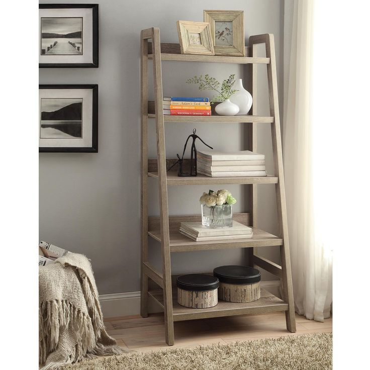 Linon Dublin Ladder Bookcase (Dublin Ladder Bookcase), Grey