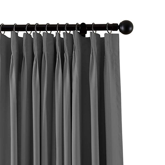 Chadmade Fireproof Flame Retardant Thermal Insulated Curtain Drapery Panel Pinch Pleat Grey 120 W X 96 L Home Of Insulated Curtains Drapery Panels Curtains