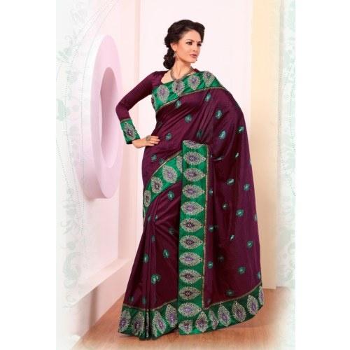 Strollay Deep Magenta Banarasi Silk Festival Saree
