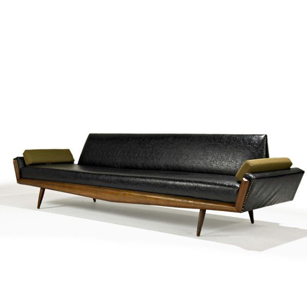 Adrian Pearsall; Walnut and Vinyl Sofa for Craft Associates, 1950s.