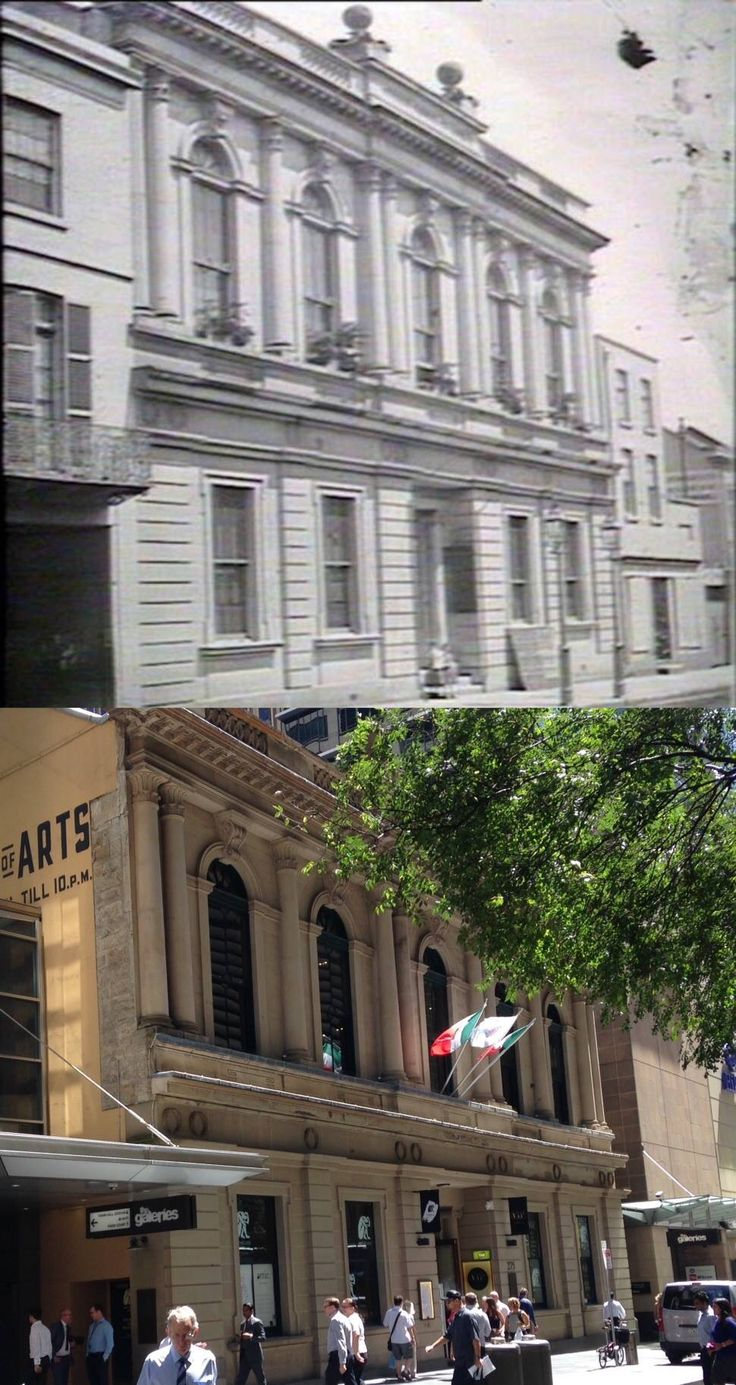 The Sydney School of Arts, Pitt Street in 1870 and in 2016. [1870 - State Library NSW > 2016 - Phil Harvey. By Phil Harvey]