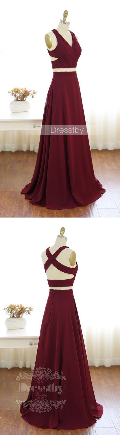 two pieces burgundy chiffon long prom dress, evening dress, two pieces burgundy formal dress for teens